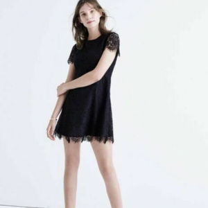 Madewell Navy Blue Floral Lace Dress Lined Shift 8